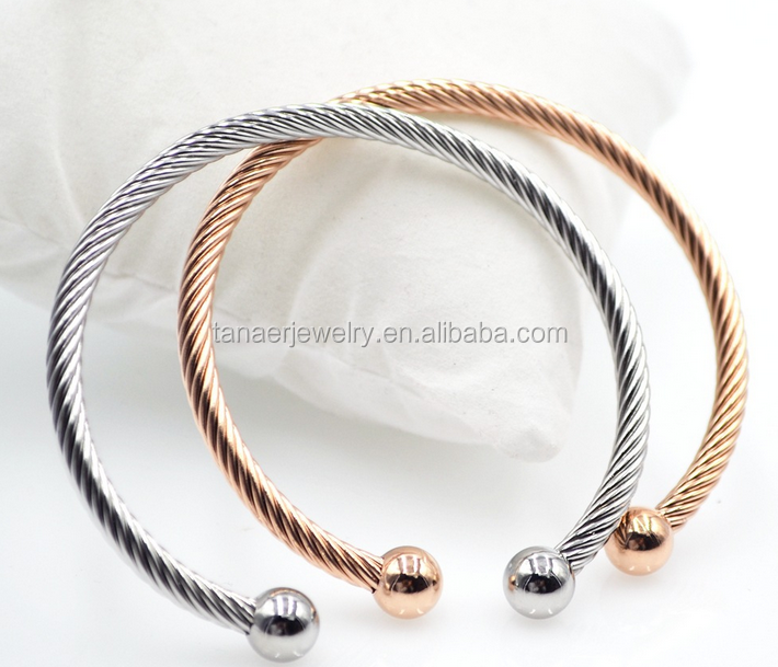 2016 fashion Stainless steel silver gold rose gold cable wire cuff bead woman's bracelet