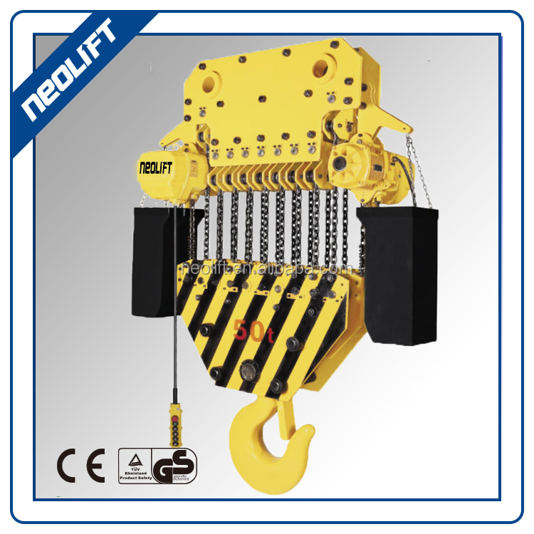 Top Running Type 30 ton Motor Chain Hoist With Double Girder Trolley