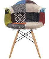 Patchwork colorful fabric covered chair dining chair