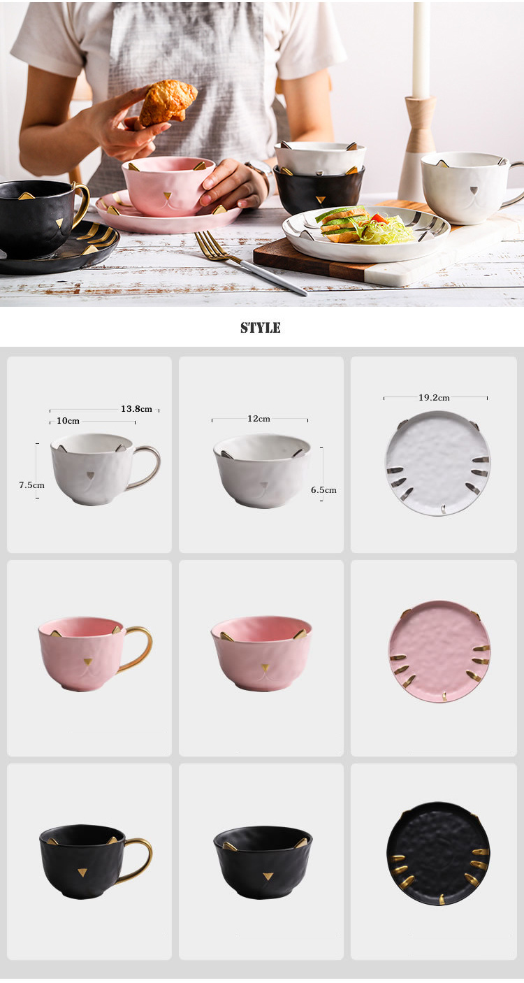 Cute Cat Shape Ceramic Dinnerware Set Porcelain Plate and Bowl set