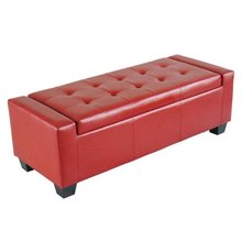Living Room Furniture Faux Leather Folding Storage Ottoman / Shoe Bench - Red
