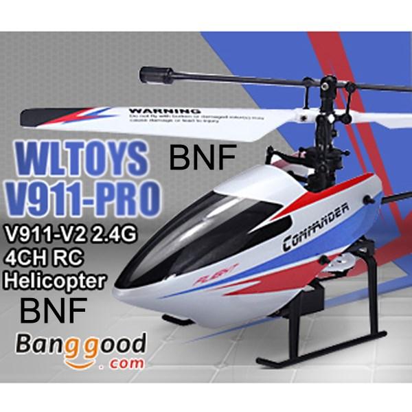 Upgraded WLtoys V911pro V911-V2 2.4G 4CH Single Propeller RC Helicopter GYRO BNF