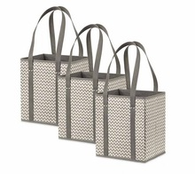 Heavy duty deluxe pieghevole tessuto grocery shopping tote bag/shopping tote bag box durevole