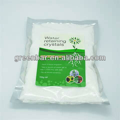 Water retaining granules/water absorbent crystal--keep water for plants