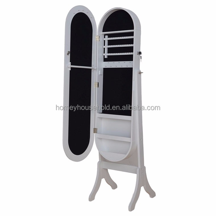 Hot sale floor standing dressing mirror high quality mirror jewelry cabinet