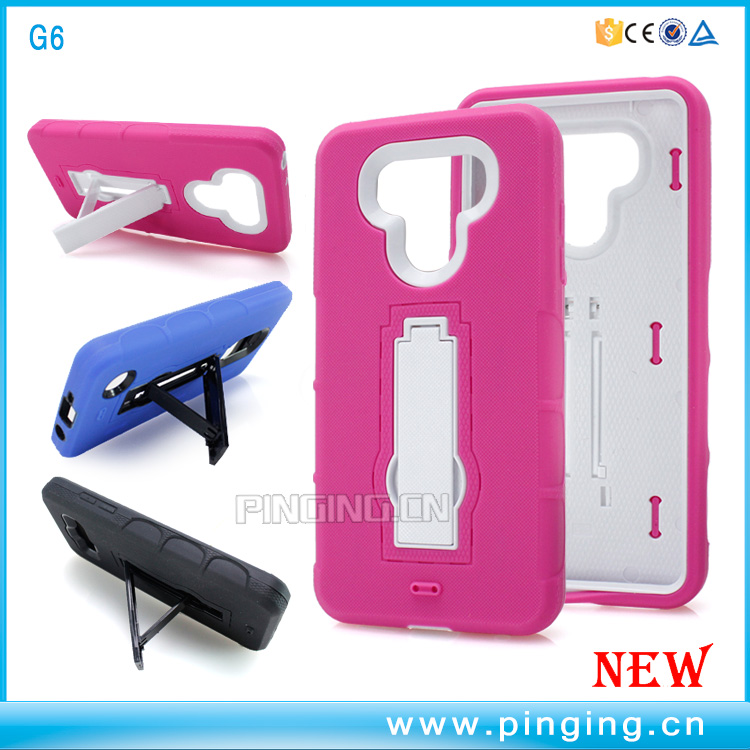2 in 1 phone hybrid silicone armor pc defender case cover for LG G6 , belt clip case for LG G6
