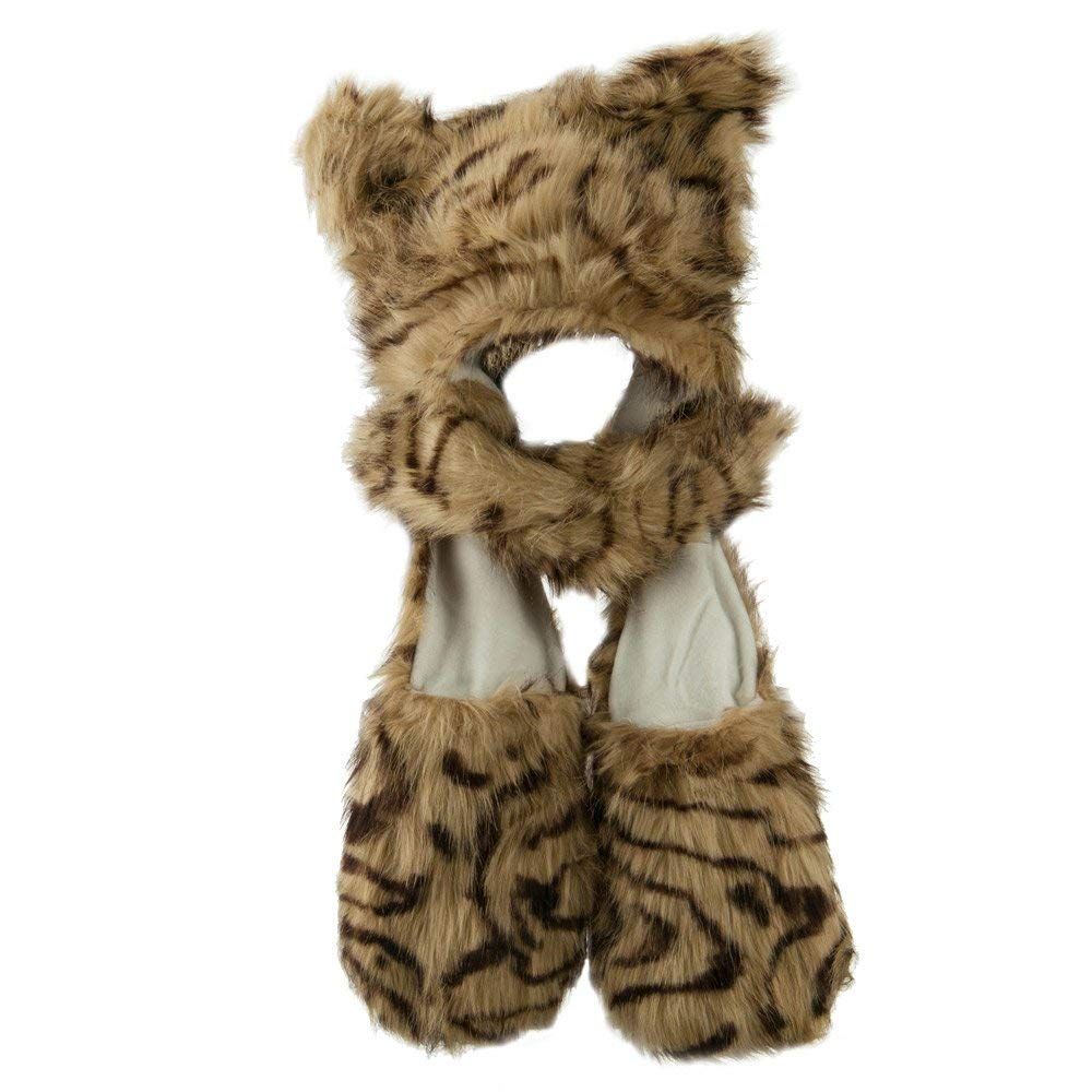 Long Furry Animal Ear Hat with Paws - Tiger