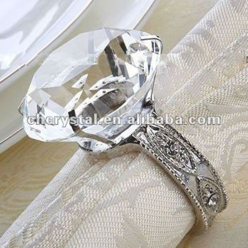 clear glass diamond wedding napkin ring glass diamond wedding napkin ring bomboniere - Wedding Napkin Rings