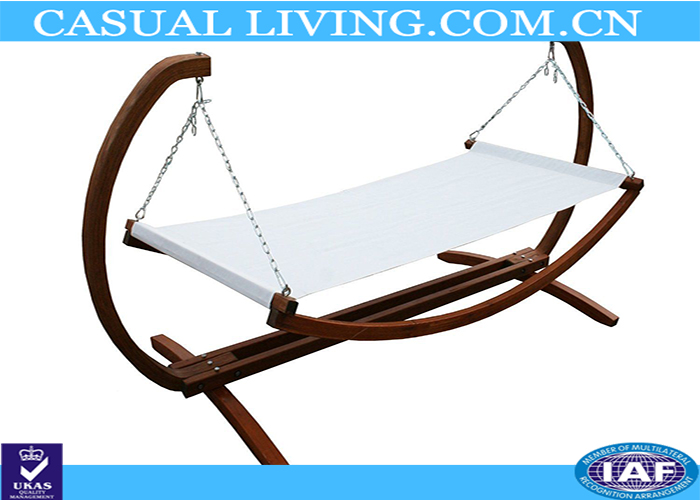 Wooden Hammock Garden Double Swing White Canvas Furniture Outdoor Summer Stand