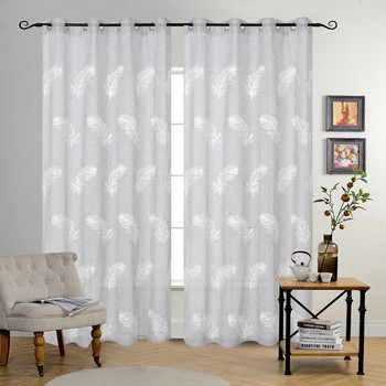 Feather Design Embroidered Sheer Curtains