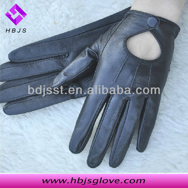 LADIES BLACK LEATHER FINGERLESS DRIVING GLOVES M/L