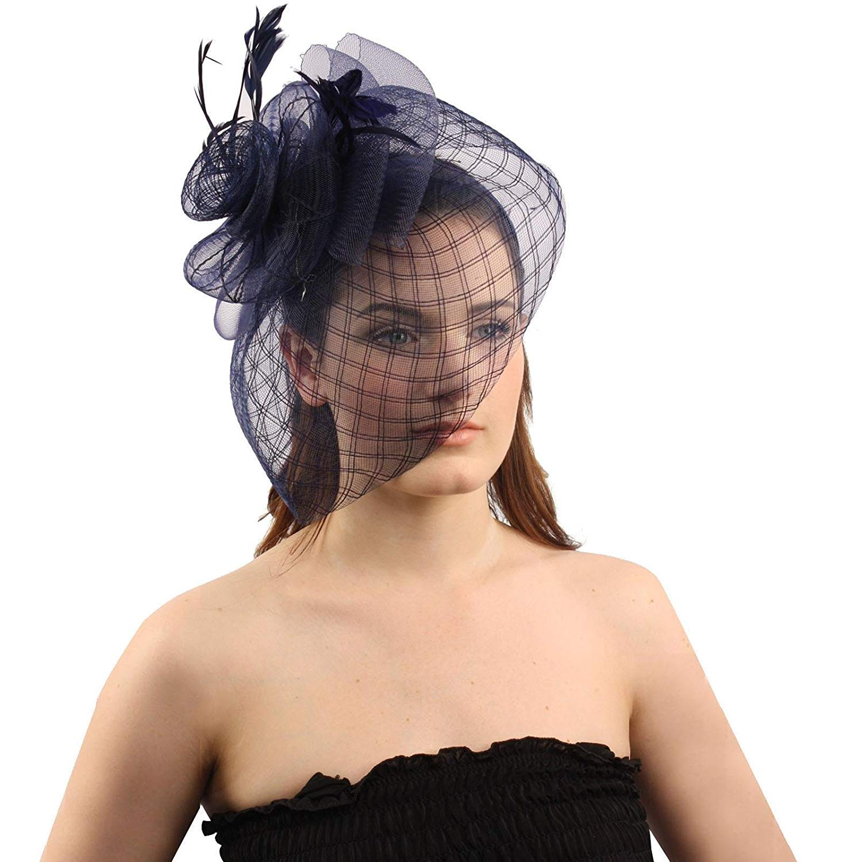 Get Quotations · SK Hat shop Big Fancy Stitch Veil Floral Feathers Headband  Fascinator Cocktail Hat Cap 452a77be26fb