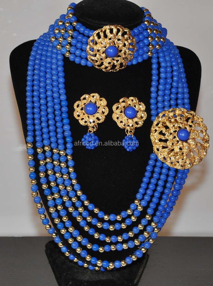 Jd002 Royal Blue Latest Design Beads Necklace African Beads ...