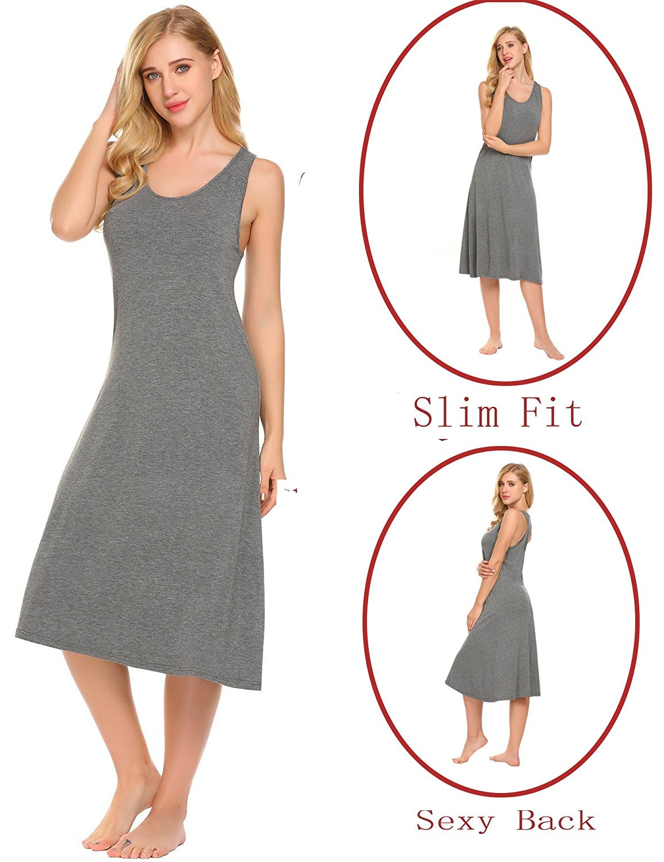e1c1c6a865 Get Quotations · Dickin Women's Cotton Nightshirts Sleeveless Sleep Vest  Dress Nighties Sleepwear Dress