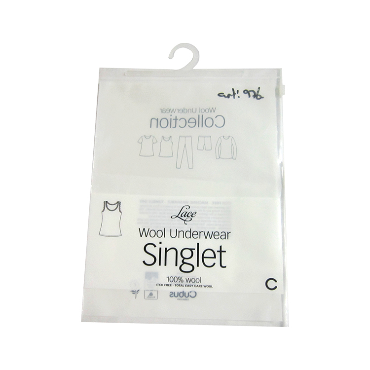 Plastic Clear Packaging Bag With Hook For Underwear Packing Baggies>
