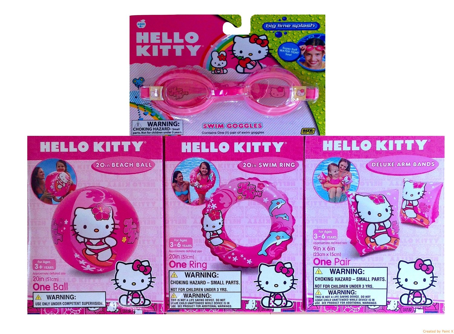 Hello Kitty Inflatable Water Toys Super Set , Includes Hello Kitty Arm Bands, Hello Kitty Beach Ball, Hello Kitty Swim Ring with Hello Kitty Swim Goggles!