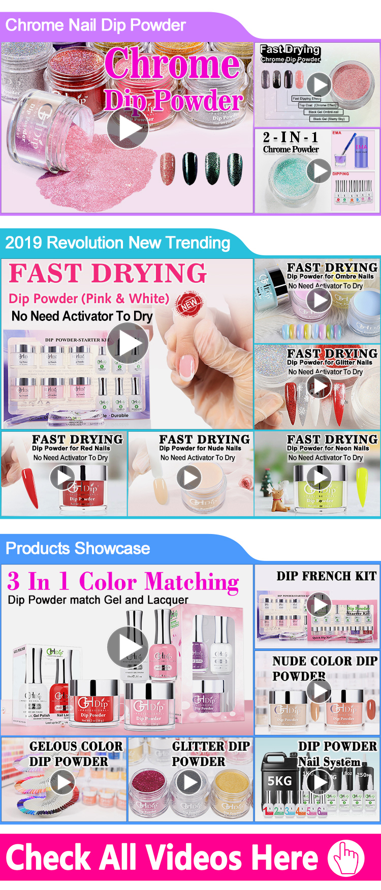 2000 Colors Acrylic Nail Dipping Powder 3 in 1 Perfect color Match Gel Polish and Nail Lacquer