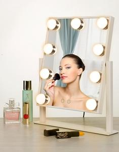 LED Touch Screen Makeup Mirror Lighted Beauty Vanity Mirror with 9 LED Lights Adjustable Countertop 360 Rotating Mirror