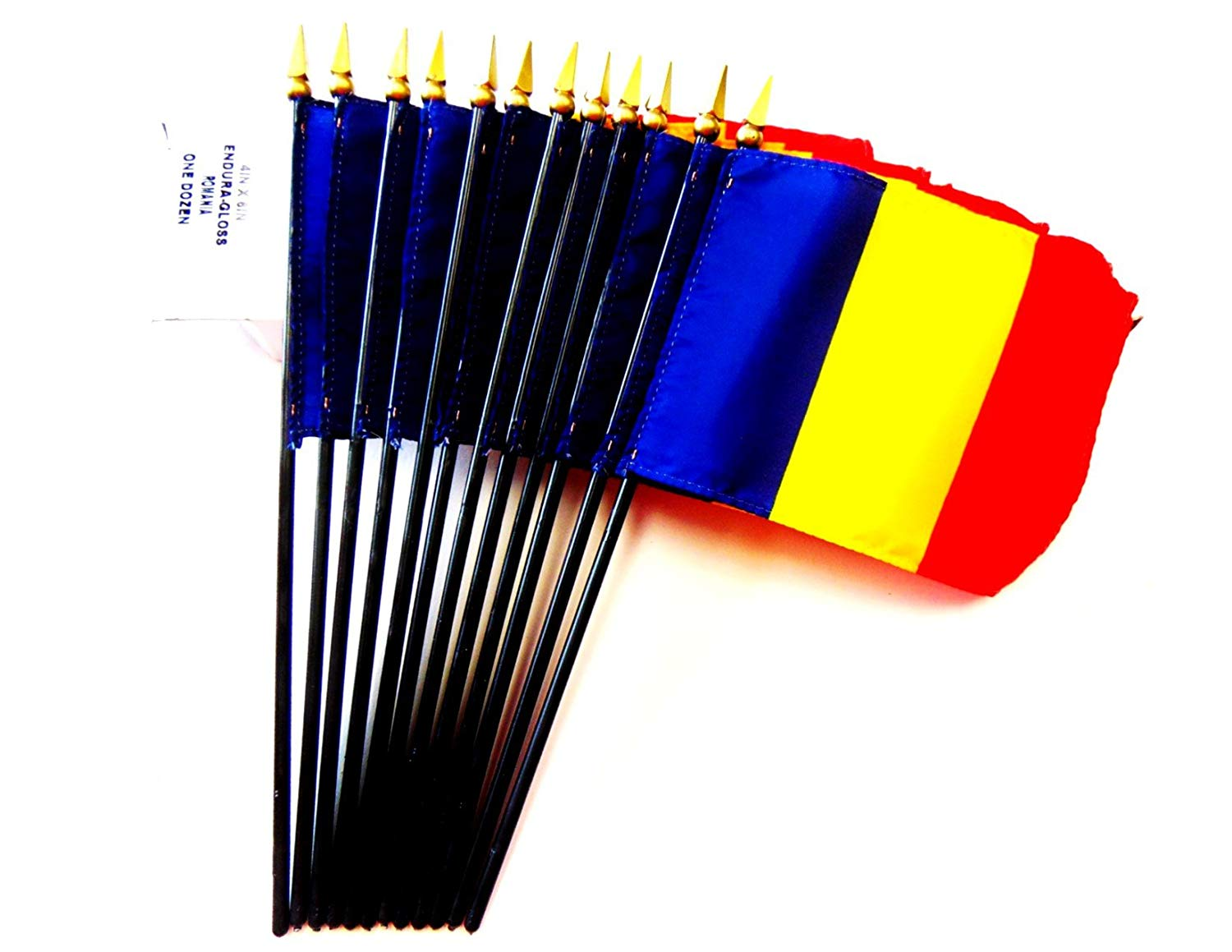 "MADE IN USA!! Box of 12 Romania 4""x6"" Miniature Desk & Table Flags; 12 American Made Small Mini Romanian Flags in a Custom Made Cardboard Box Specifically Made for These Flags"