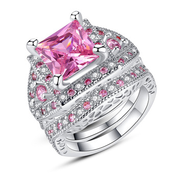 Women Copper Alloy Jewelry Fashion Latest Design Couple Pink Wave Micro Pave Statement Large Cubic Sets Zircon Ring For Unisex