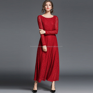 high end graceful round neck long sleeve celebrity red lace autumn dress