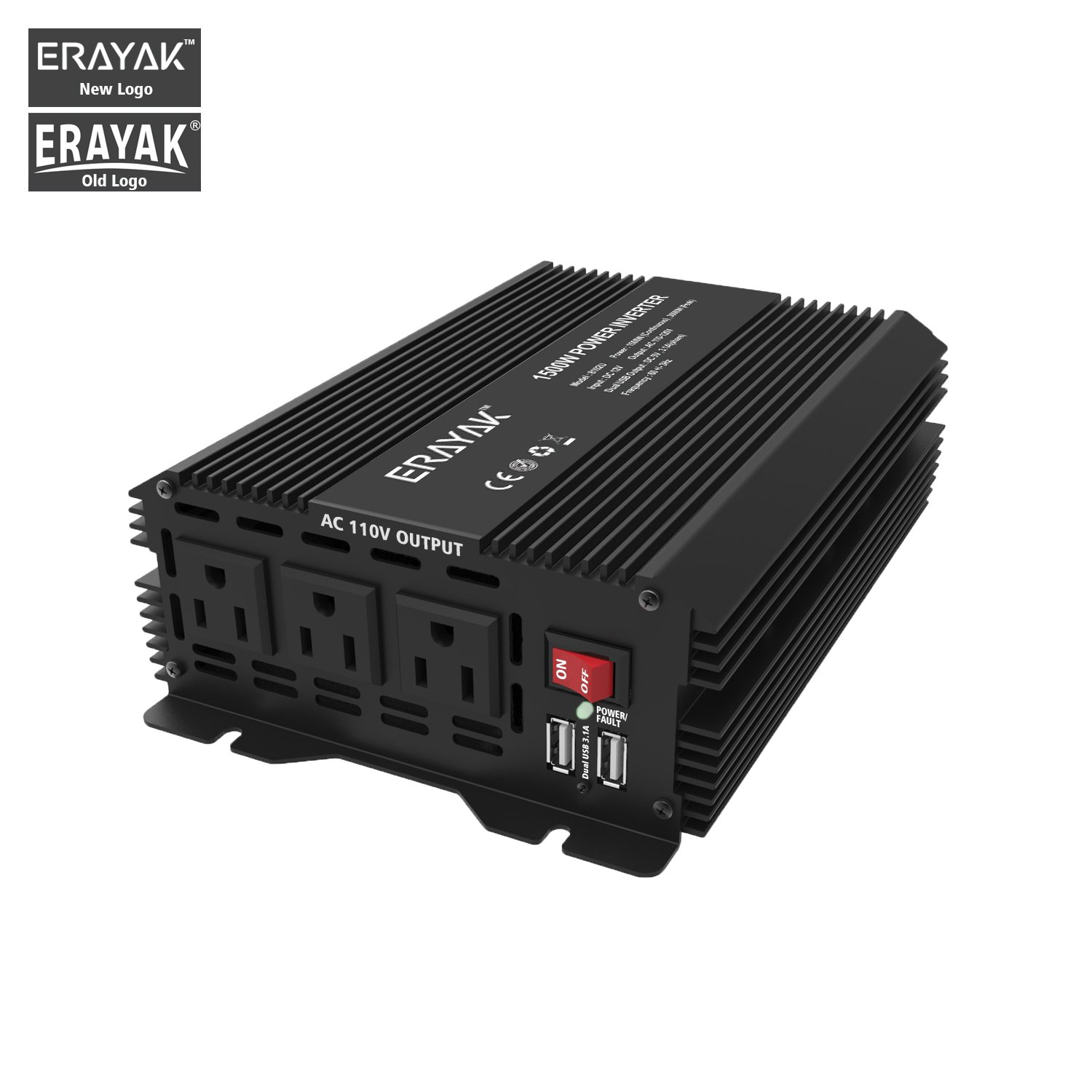 ERAYAK 1500W Power Inverter DC 12V to 110V 3 AC Outlets with 3.1A Dual USB Ports Solar Power Converter for Home/Office/Car/Travel