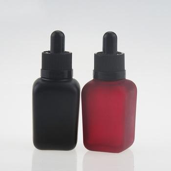 China Supplier 1 Oz 30ml Square Matte Black Colors Glass Vape Juice E Cig  Liquid Bottle With Alumite Black Cap - Buy Square Matte Glass Bottle With