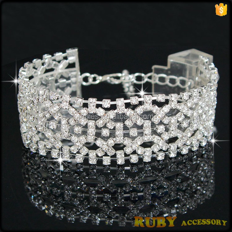 Women party jewelry silver Crystal stones chain link wholesale piston bracelets BR0042