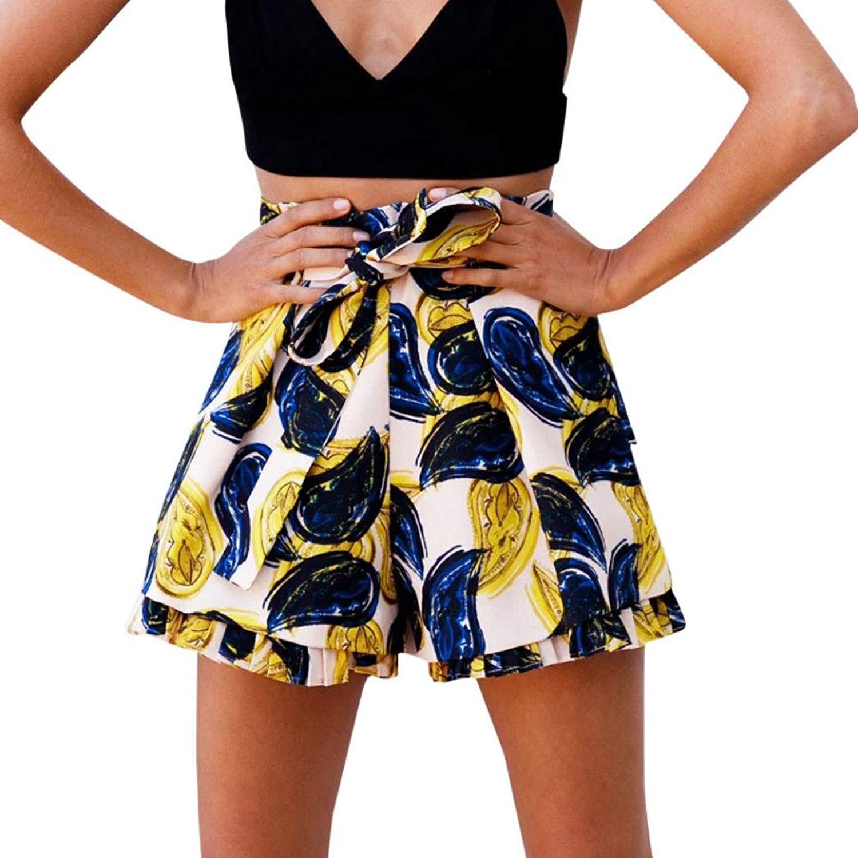 Women Fashion Casual Print Shorts Summer High Waist Jersey Walking Shorts Hot Pants