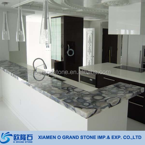 Precut Epoxy Resin Kitchen Agate Countertop
