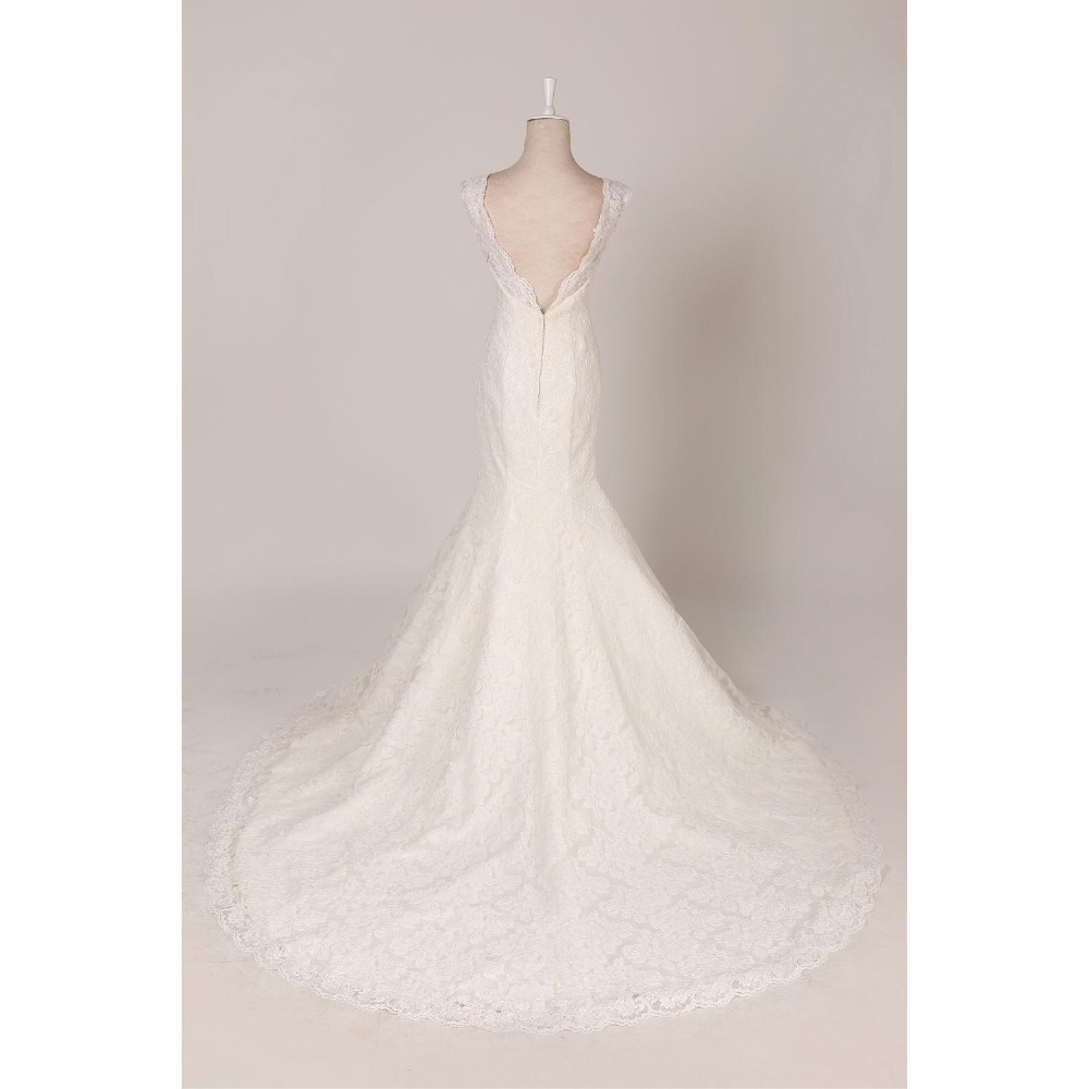 WDZ3 Removable Lace Backless O neck Short Sellve Wedding Dress