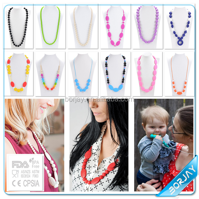 Free samples handmade baby teether Silicone doll pendants necklaces for pregnant women