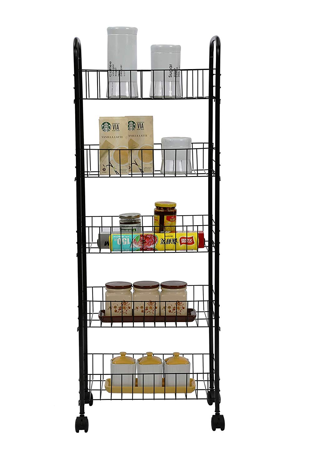 """Homebi 5-Tier Kitchen Trolley Rolling Cart Wire Shelving Units Metal Storage Rack Kitchen Stand with Wire Baskets for Cooking Utensils and Food Storage with Wheels in Black,16.53""""W x 10.31"""" D x44.49""""H"""