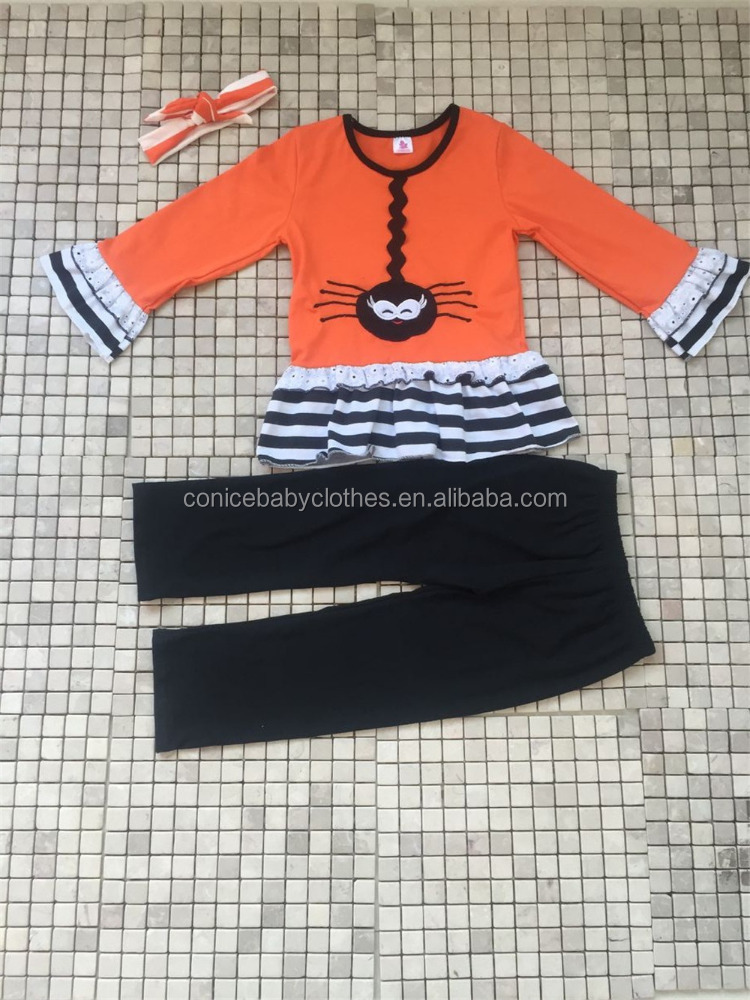 high quality western children's fall winter wearing spider boutique outfit with headband