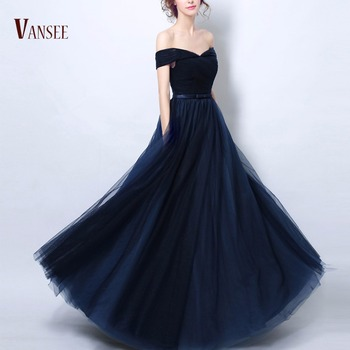 0eced651a MOQ 1 piece IN STOCK plain show dress navy royal blue off shoulder fluffy  evening dress