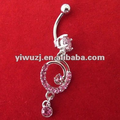 2014 new 316L surgical stainless steel with a rims pink stone dangle swirl shape belly button ring