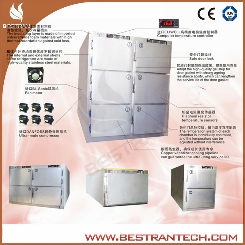 BT-RMF6 Six body mortuary body refrigerators , mortuary refrigerator price