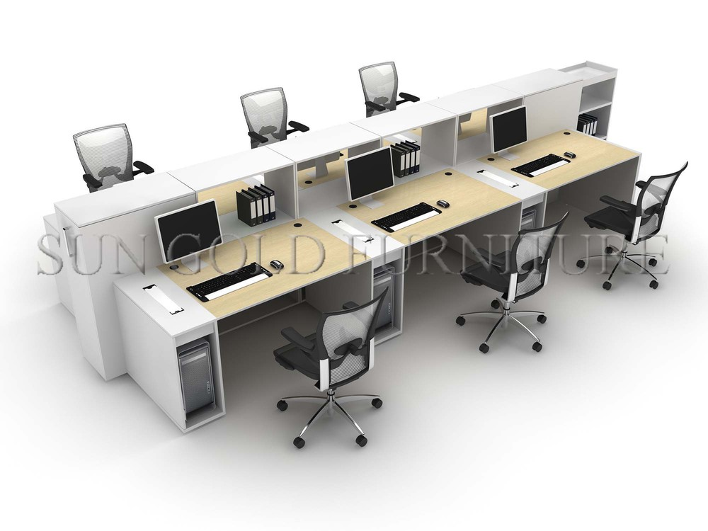 Modern wooden cheap 6 seaters office workstation cubicles for Bureau workstation