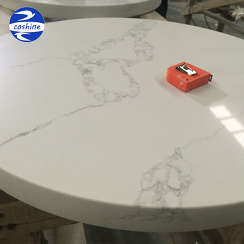 White Calacatta Gold Marble Surface Quartz Stone Round Dining Table Top