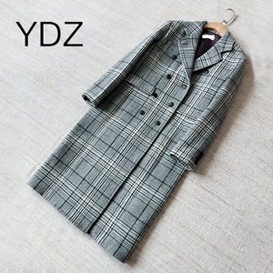 Autumn And Winter New Original Single Gray Black And White Plaid Loose Double Row In The Long Section Of The Coat Outside