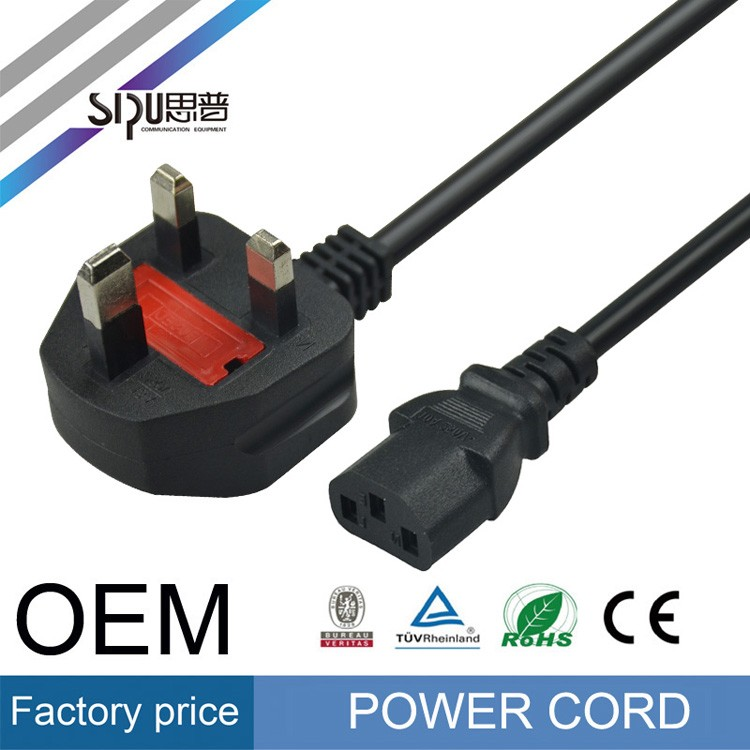 SIPU  ODM OEM power cable 3 pin electric plug uk power cord for laptop