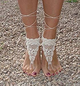 Ivory Beach Wedding Sandals,Wedding Accessory,Sexy Beach Sandals, Crochet Barefoot Sandals, Barefoot Sandals , Crochet Anklet, Sexy Lace Sandals,Wedding Footwear, Bridesmaid Sandals (Ivory-02)