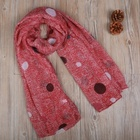 Colorful Dots Printed Polyester Viscose Soft Voile Woven Scarf