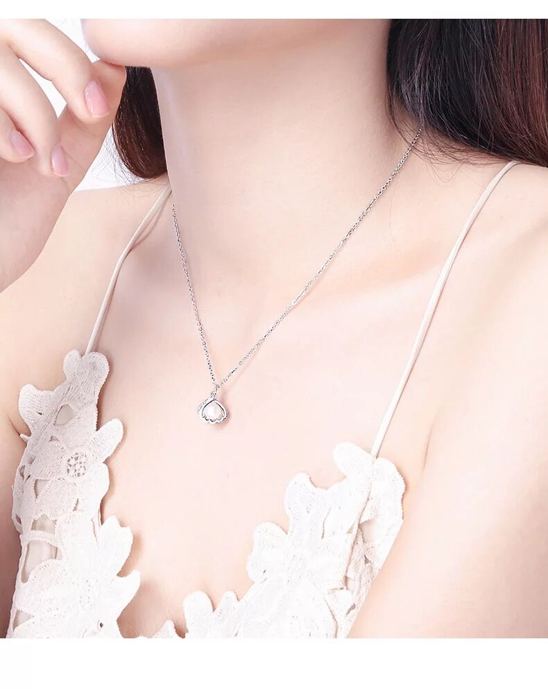 Fashion design 925 sterling silver shell pendant necklace with natural pearl