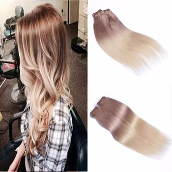 Full cuticle remy clip on hair extension bleached blonde two tone full cuticle remy clip on hair extension bleached blonde two tone color t18613 ash pmusecretfo Choice Image