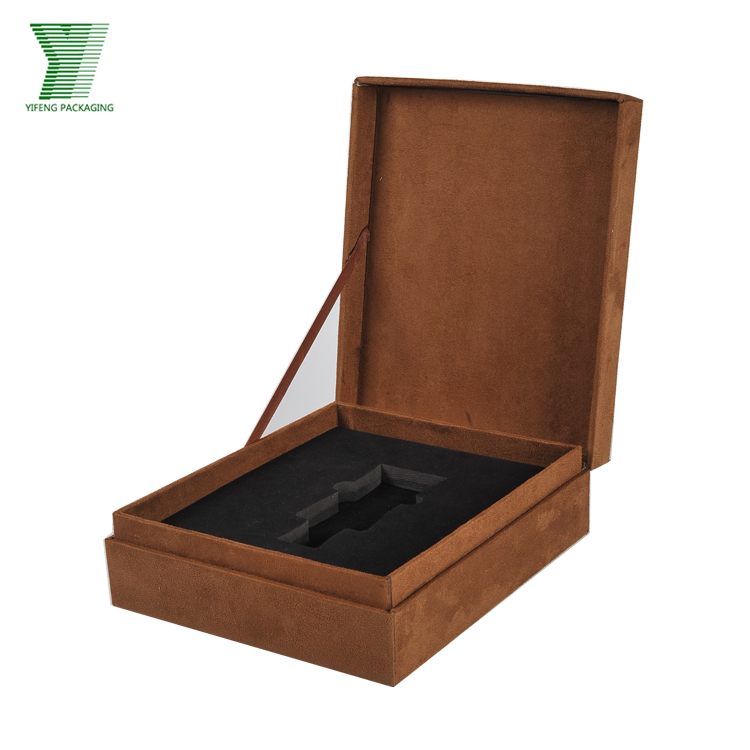 luxury custom logo eva foam insert cardboard velvet perfume packing box