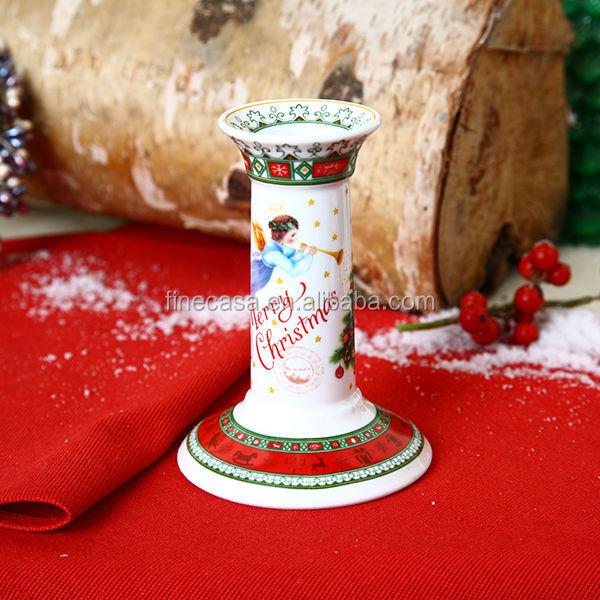 Ceramic christmas pillar candle holder buy candle holder for Christmas pillar candle holders