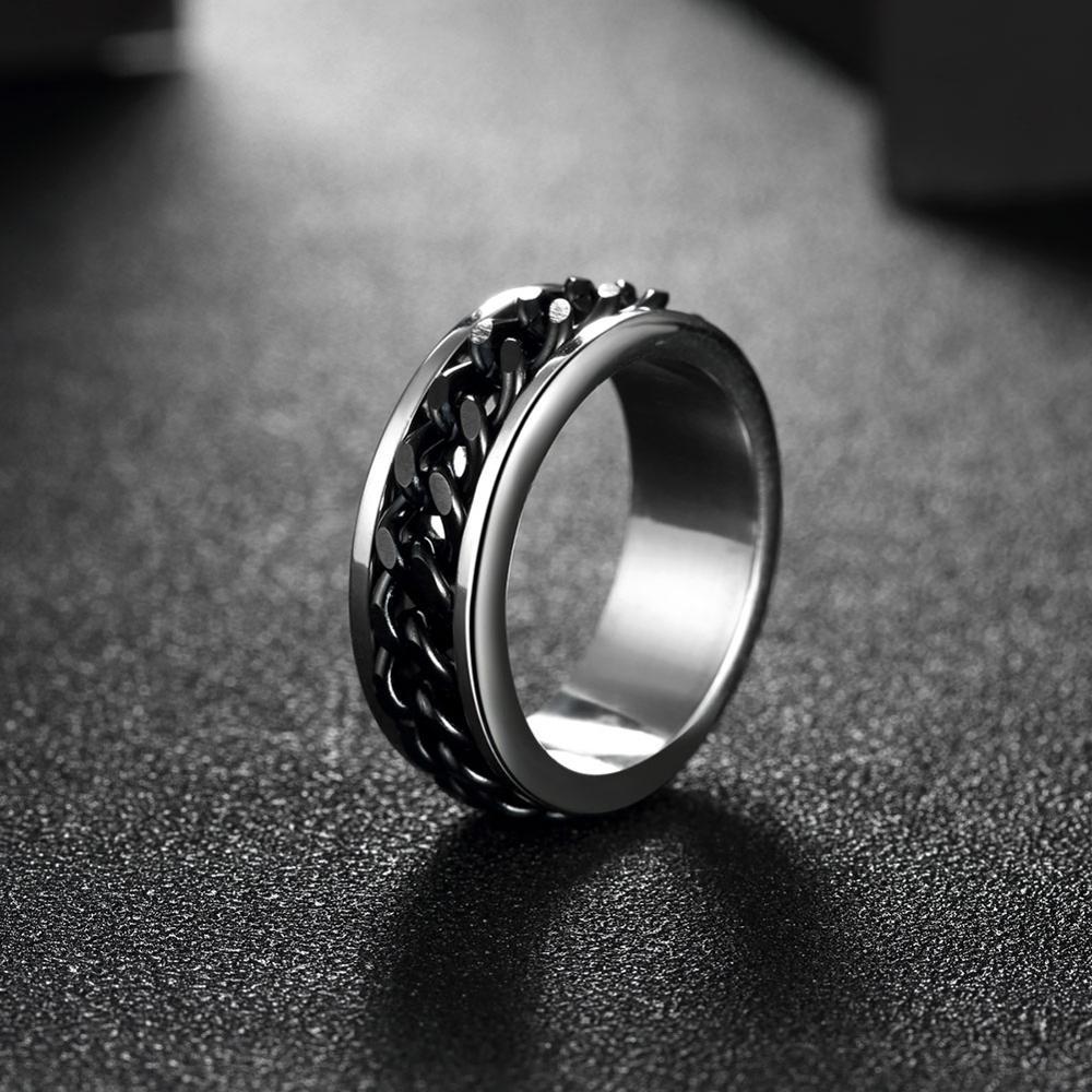 8d23d23329fa Tryme для мужчин кольцо панк Рок интимные Аксессуары 316L Нержавеющая сталь  Черный кольцо Spinner обручальные кольца