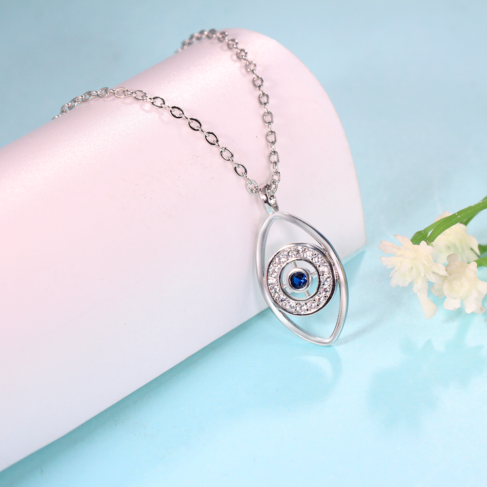 Wholesale Custom Silver Eye Sign Women Jewelry Charm Necklace