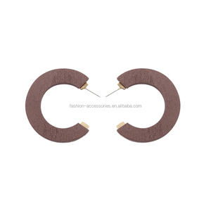 Fashion Korean Women Daily Wear Brown Wood C Geometric Wooden African Hoop Stud Earrings